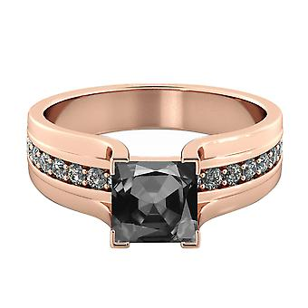 1.20 CTW 14K Rose Gold Black Diamond Ring with Diamonds Bridge Vintage Promise