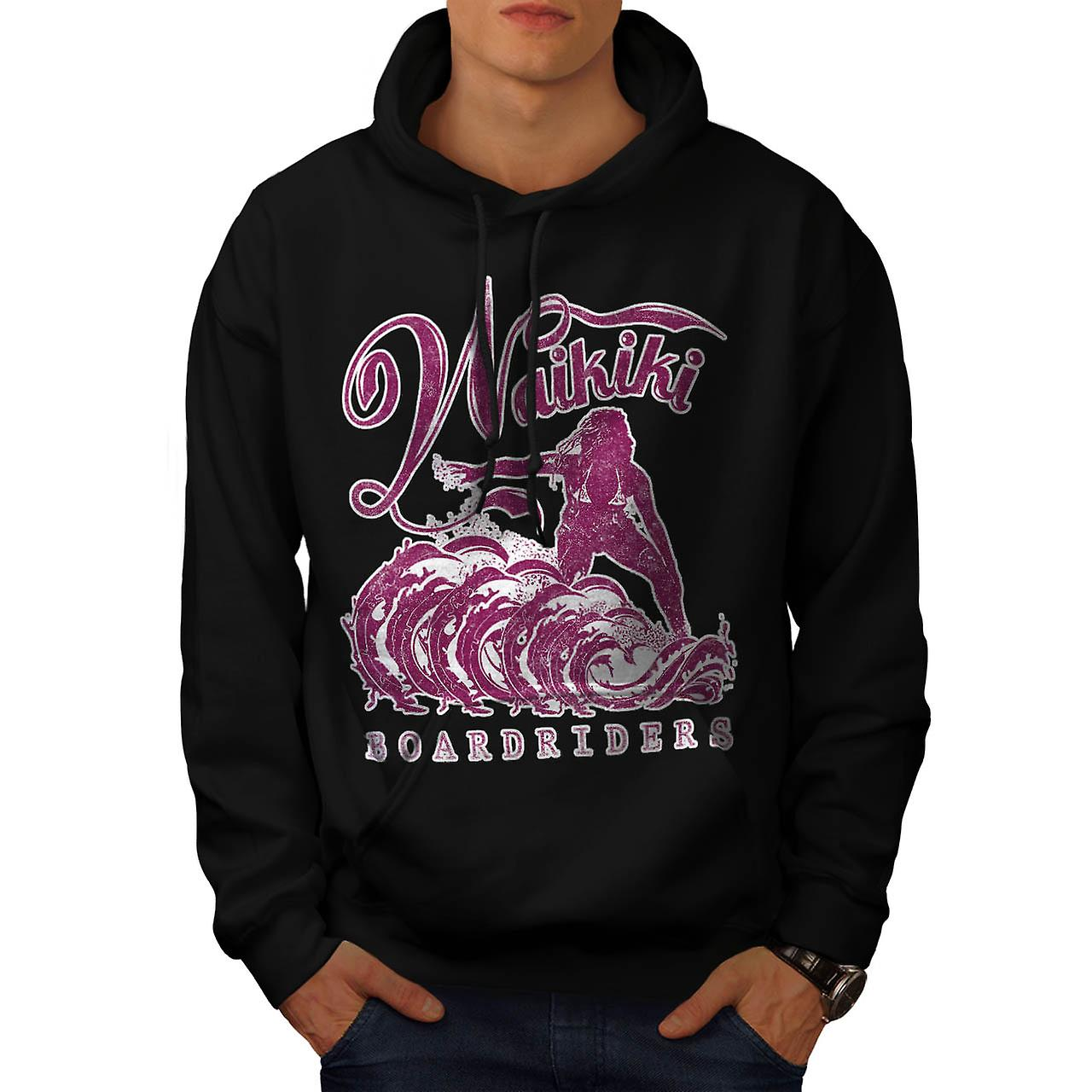 Surfing Hawaii USA Honolulu Surf Men Black Hoodie | Wellcoda