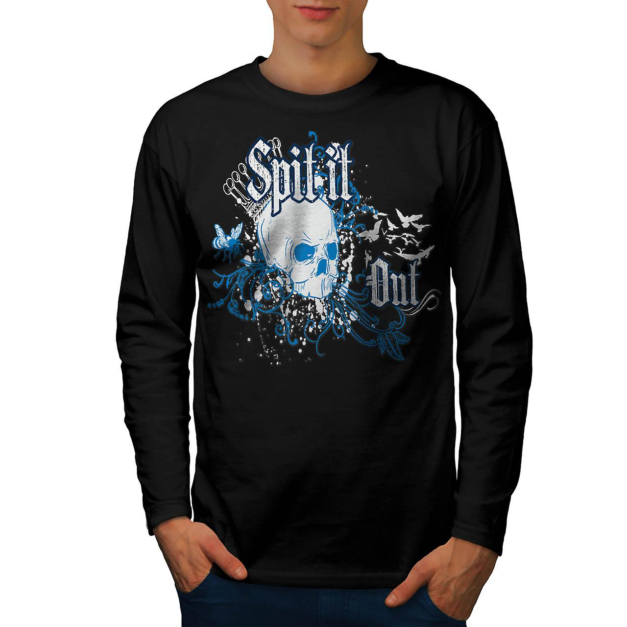 Skull Spit It Out Jaw Death Head Men Black Long Sleeve T-shirt | Wellcoda