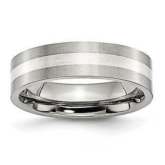 チタン スターリングシルバーつや消しフラット バンド彫刻用インレイ 6 mm サテン バンド リング - 指輪のサイズ: 6 に 13