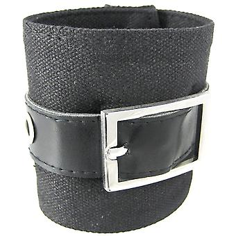 Black Canvas Wristband W/ Vinyl Strap Chrome Buckle