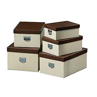 Set of 5 Cream Mock Croc Storage Boxes household