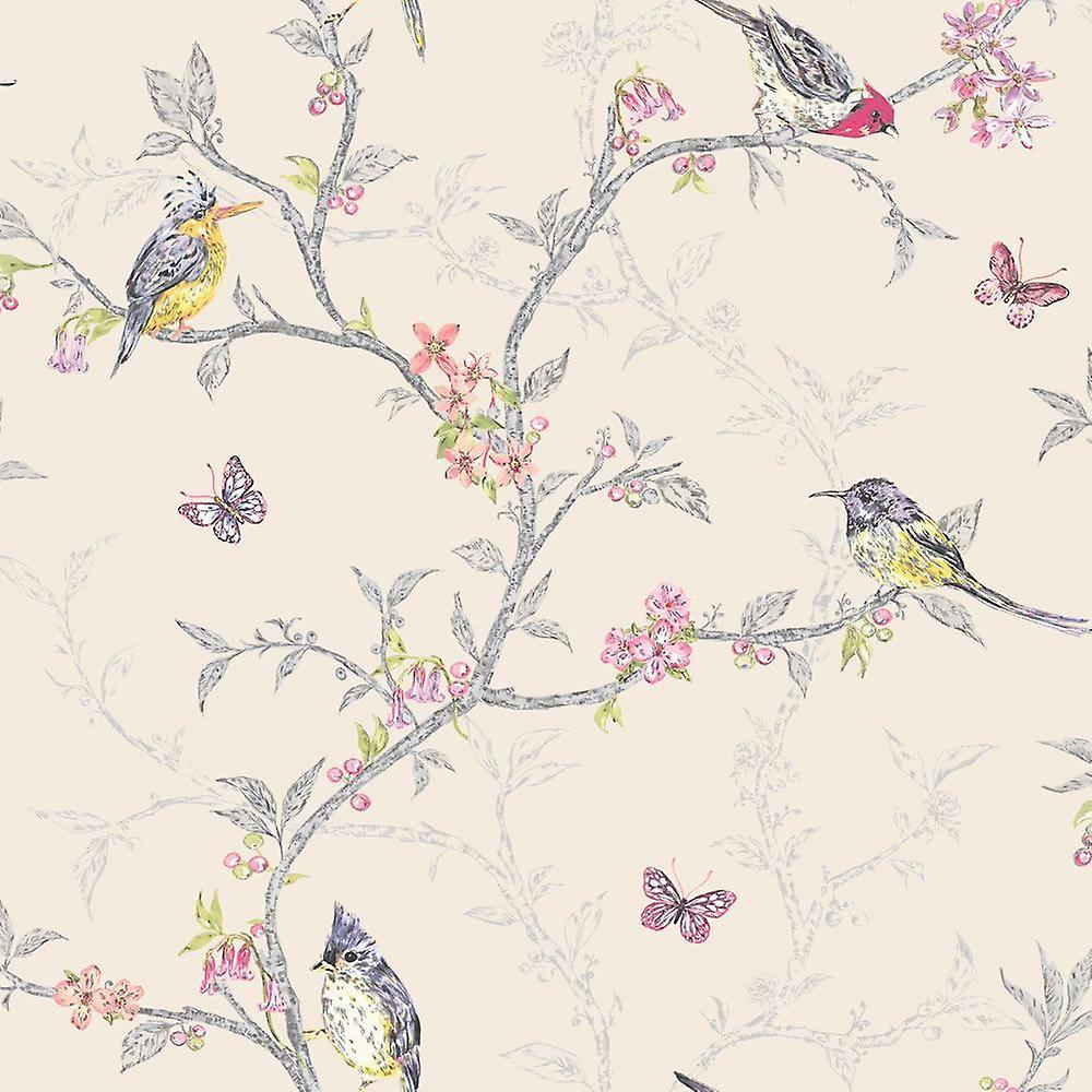 Holden Decor Beige Colourful Multi Color Birds Trees Floral Butterfly Wallpaper