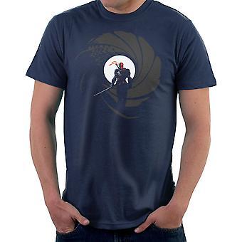 Deathstroke Slade Wilson licens til skråstreg James Bond Gun Barrel mænd T-Shirt