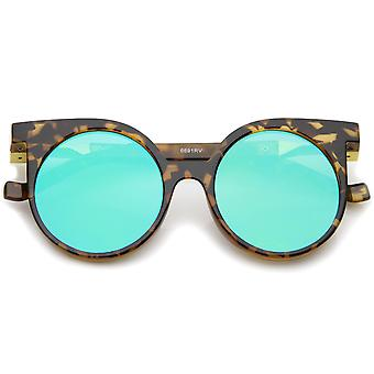 Modern Horn Rimmed Color Mirrored Flat Lens Round Sunglasses 50mm