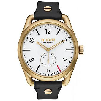 Nixon The C39 Leather Watch - Black/Gold/White