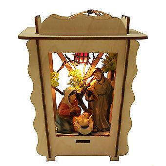 Lantern Nativity crib in lantern lit Nativity scene to hang with figures crafted