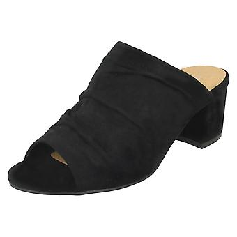 Ladies Anne Michelle Mid Heel Rouched Vamp Mules F10771