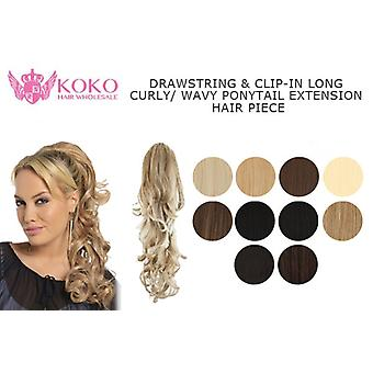 "23"" Drawstring & Clip-In Long Curly/ Wavy Ponytail Extension Hair Piece"