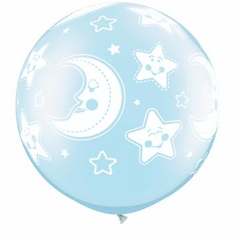 Qualatex Baby Moon & Stars Round Pearl Balloons (Pack of 2)