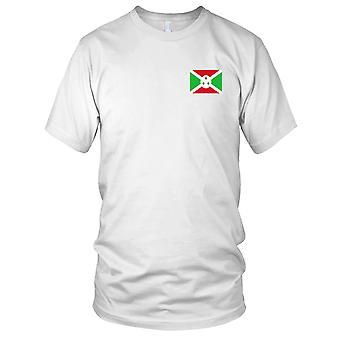 Burundi Country National Flag - Embroidered Logo - 100% Cotton T-Shirt Mens T Shirt