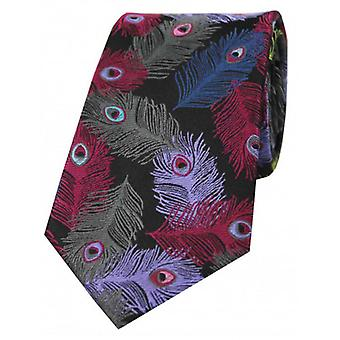 Posh and Dandy Peacock Feathers Silk Tie - Black/Brown/Pink
