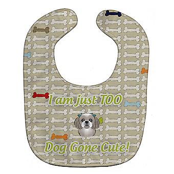 Carolines Treasures  BB5819BIB Too Cute Gray Silver Shih Tzu Baby Bib