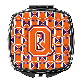 Letter Q Football Orange, White and Regalia Compact Mirror