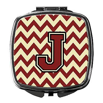 Carolines Treasures  CJ1061-JSCM Letter J Chevron Maroon and Gold Compact Mirror