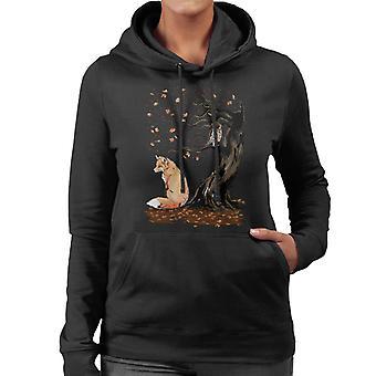Animals Winds Of Autumn Fox And Owl Women's Hooded Sweatshirt