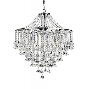 Dorchester Chrome And Crystal Five Light Chandelier - Searchlight 3495-5cc