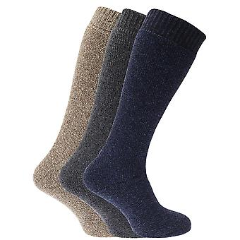 Mens Thermal Wool Blend Long Wellington Boot Socks (Pack Of 3)