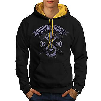 WoodBikerss Club Men Black (Gold Hood)Contrast Hoodie | Wellcoda