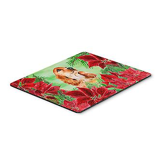 Cocker Spaniel Poinsettas Mouse Pad, Hot Pad or Trivet
