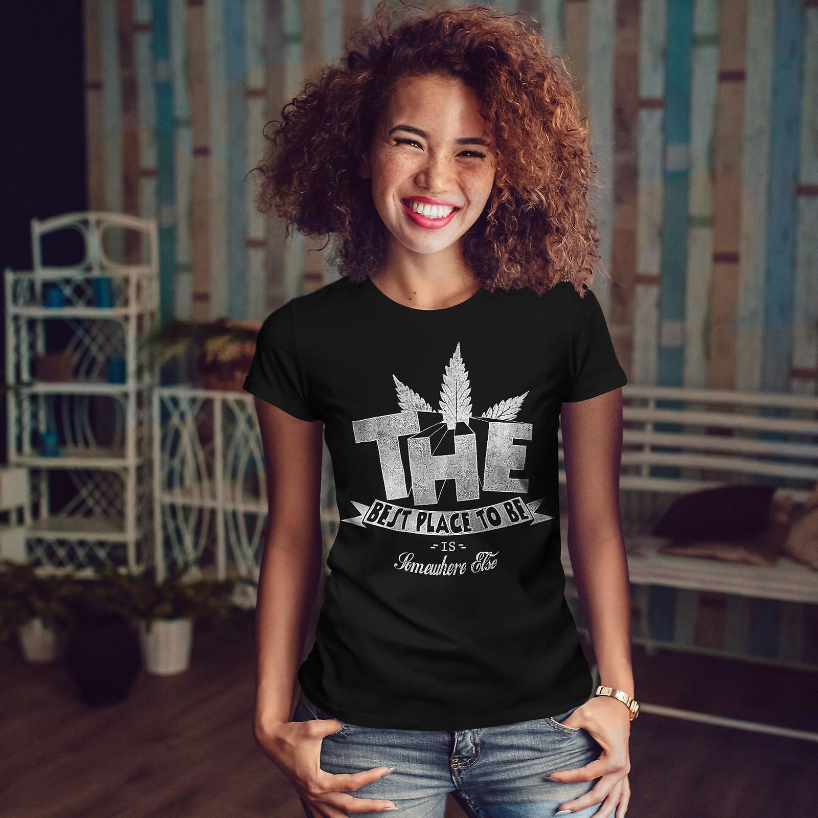 Best Place Weed Pot Rasta Women BlackT-shirt | Wellcoda