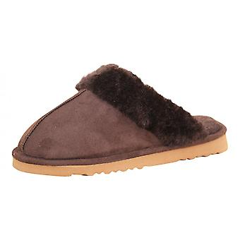 Dunlop Ladies Chocolate Faux Suede Fur Slip On Cosy Slipper Mules