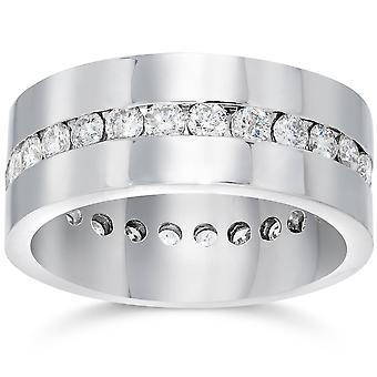 メンズ 1 1/10 ct ダイヤモンド永遠コンフォート結婚指輪 14 k ホワイトゴールド リングします。