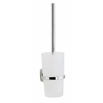 Cabin Wallmounted Toilet Brush With Frosted Glass Container - Polished Chrome CK333