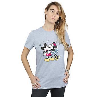 Disney Women's Mickey and Minnie Mouse Kiss Boyfriend Fit T-Shirt