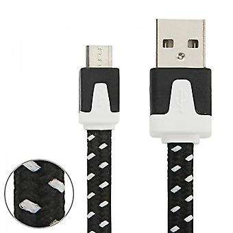 1m USB data og ladekabel svart for alle Smartphone og Tablet micro USB