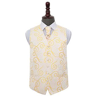 Gold Scroll Wedding Waistcoat & Cravat Set