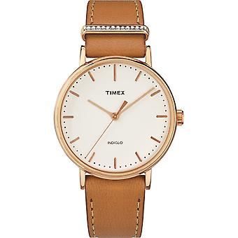 Timex ladies watch Fairfield Crystal 37 mm leather bracelet TW2R70200