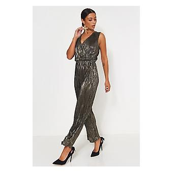 The Fashion Bible Black Satin Jumpsuit