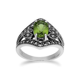 Gemondo Sterling Silver Peridot & Marcasite Oval Art Nouveau Ring