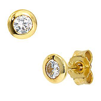 Con Circonita MIU montante pendiente de oro pendientes oro pendientes 333 de oro