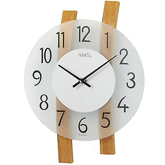 Quartz wall clock wall clock quartz curved beech rods mineral glass