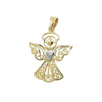 Pendant angel two tone 9k gold