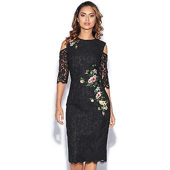 Black Floral Print Lace Bodycon Dress