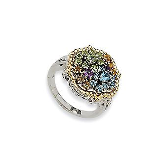 Sterling Silver Antique finish With 14k 1.43tw Multi Gemstone Ring - Ring Size: 6 to 8