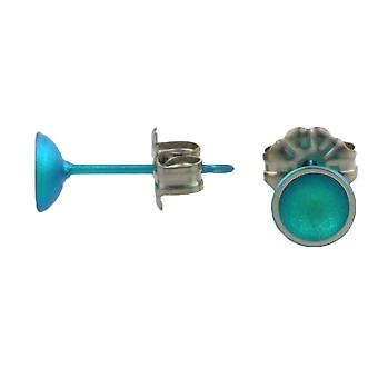 Ti2 Titanium Tiny Dome Stud Earrings - Kingfisher Blue