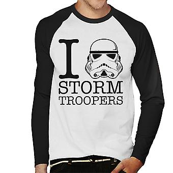 Original Stormtrooper I Heart Troopers Men's Baseball Long Sleeved T-Shirt