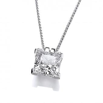 Cavendish French Sterling Silver and Crystal Square Pendant without Chain