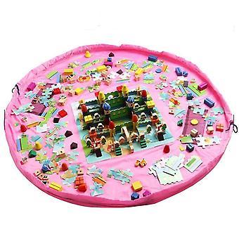 Alfombra de juego de bolsa de almacenamiento para juguetes de color rosa
