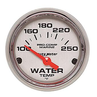 AutoMeter 200762-35 Marine Electric Water Temperature Gauge; 2-1/16 in.; Silver Dial Face; Chrome Bezel; Fluorescent Red