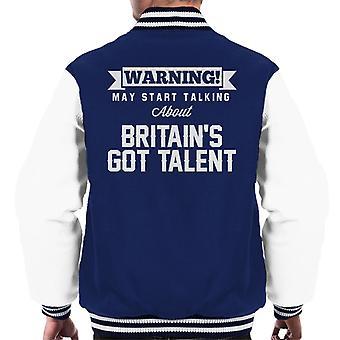 ADVERTENCIA puede comenzar hablando de Britains Got talento Varsity chaqueta de los hombres