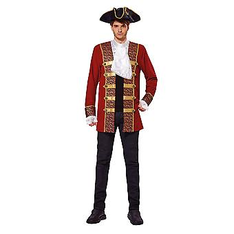 Pirate Coat Red with Attached Cuffs/Jabot
