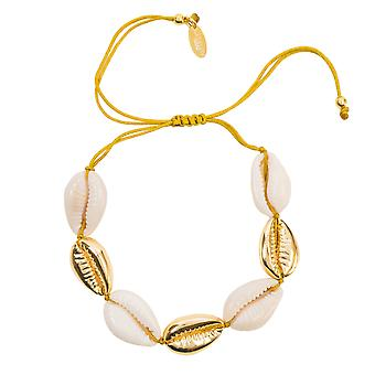 Bracelet Cowrie Sea Shell Natural Yellow Gold Macrame Textile Adjustable Summer