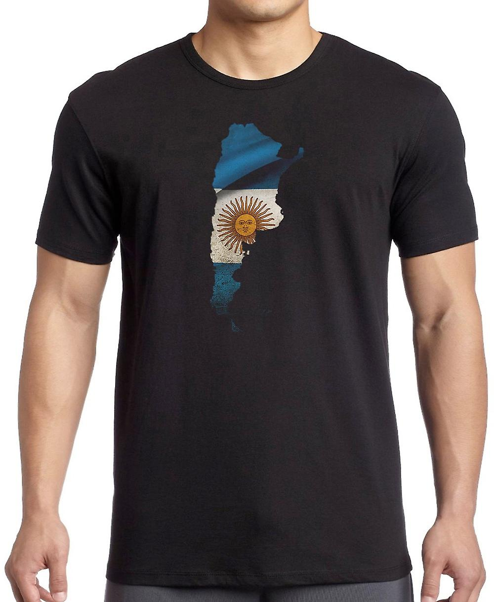 Argentinian Argentina Flag Map -  Kids T Shirt