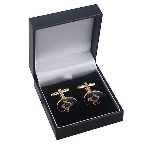 Hard Gold Plated 14x19mm oval cold cure enamel Masonic with 'G' swivel Cufflinks