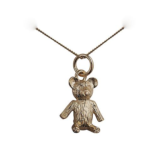 9ct Gold 15x12mm sitting Teddy Bear Pendant with a curb Chain 16 inches Only Suitable for Children